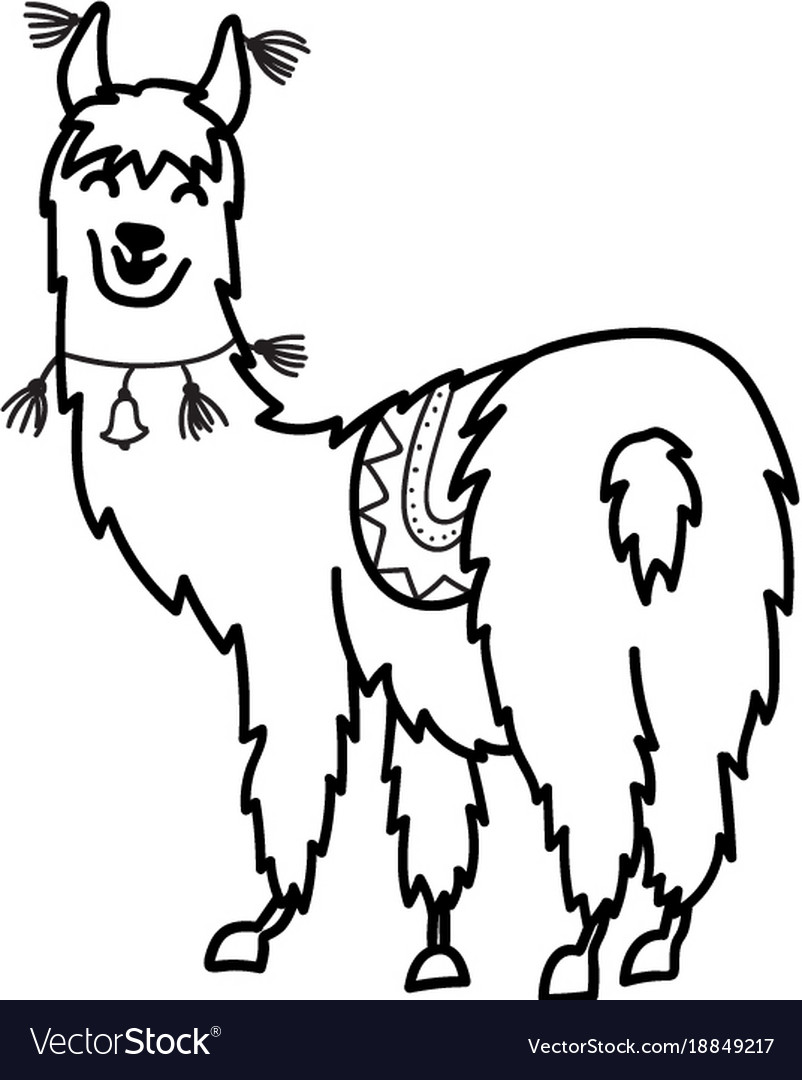 isolated outline cartoon baby llama vector image - Outline Cartoon Pictures