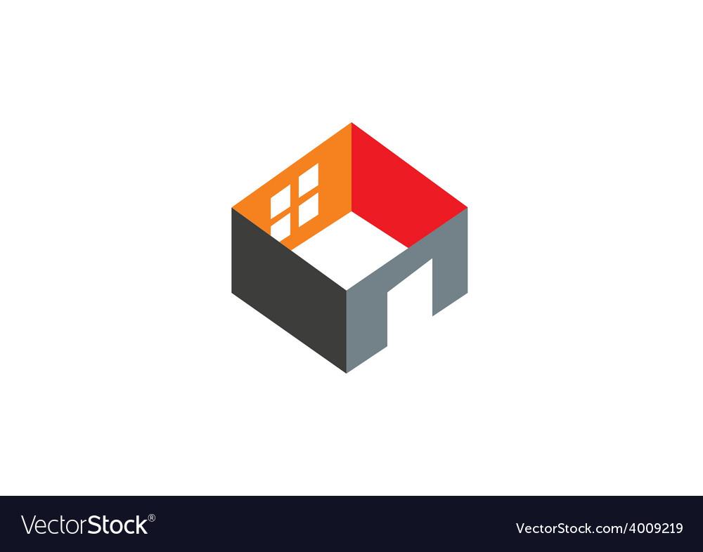 3d Home Construction Interior Logo Vector Image