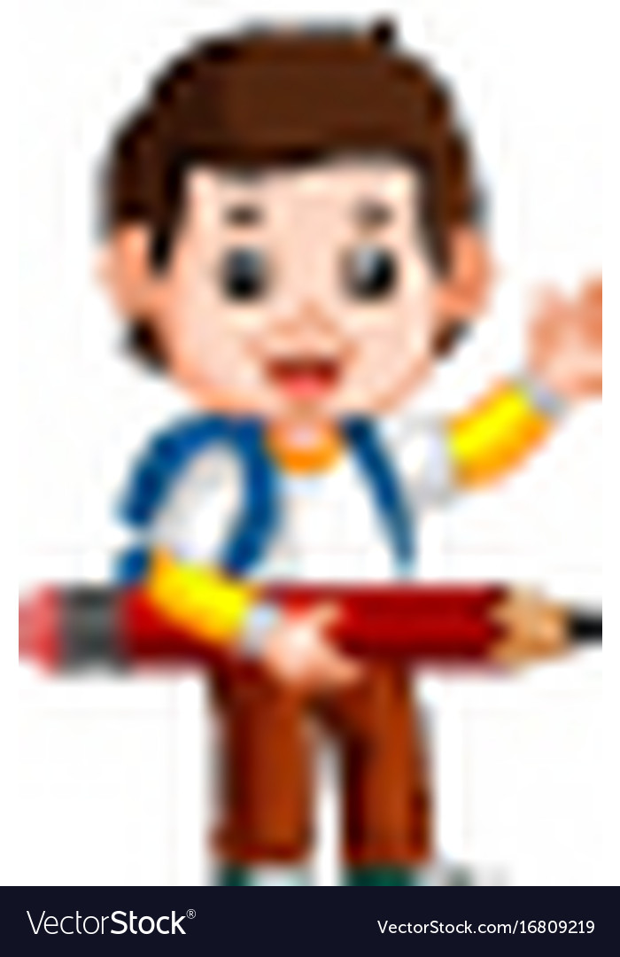 Boy holding big pencil vector image