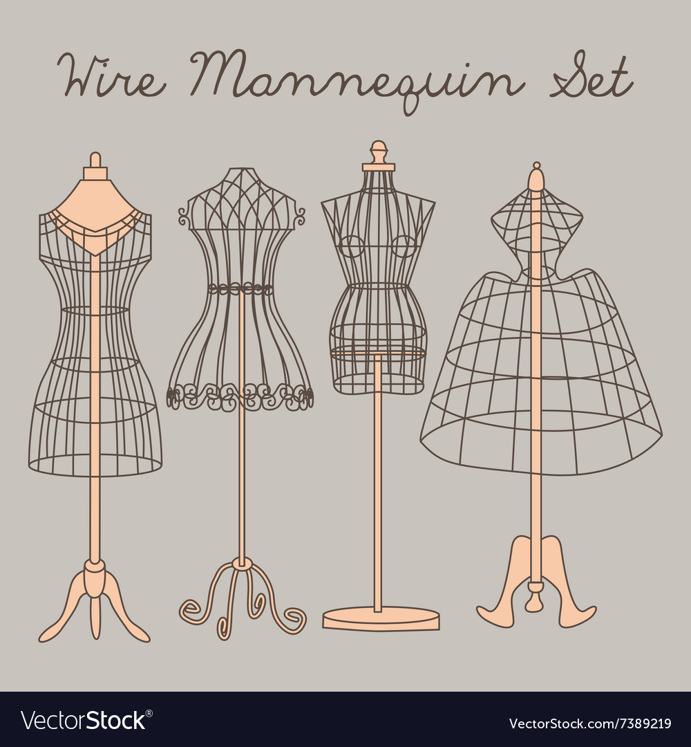 Wire Mannequin Set vector image