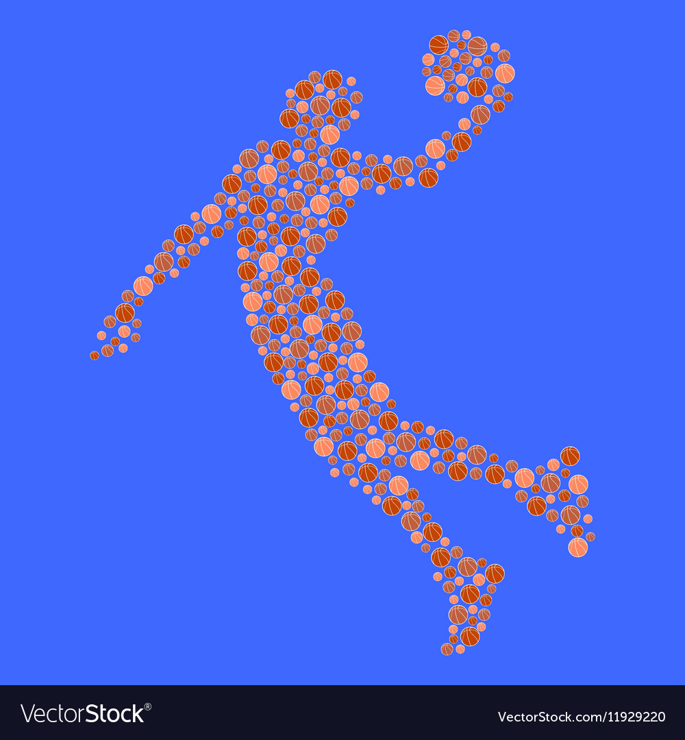 Abstract basketball player in jump Silhouette vector image