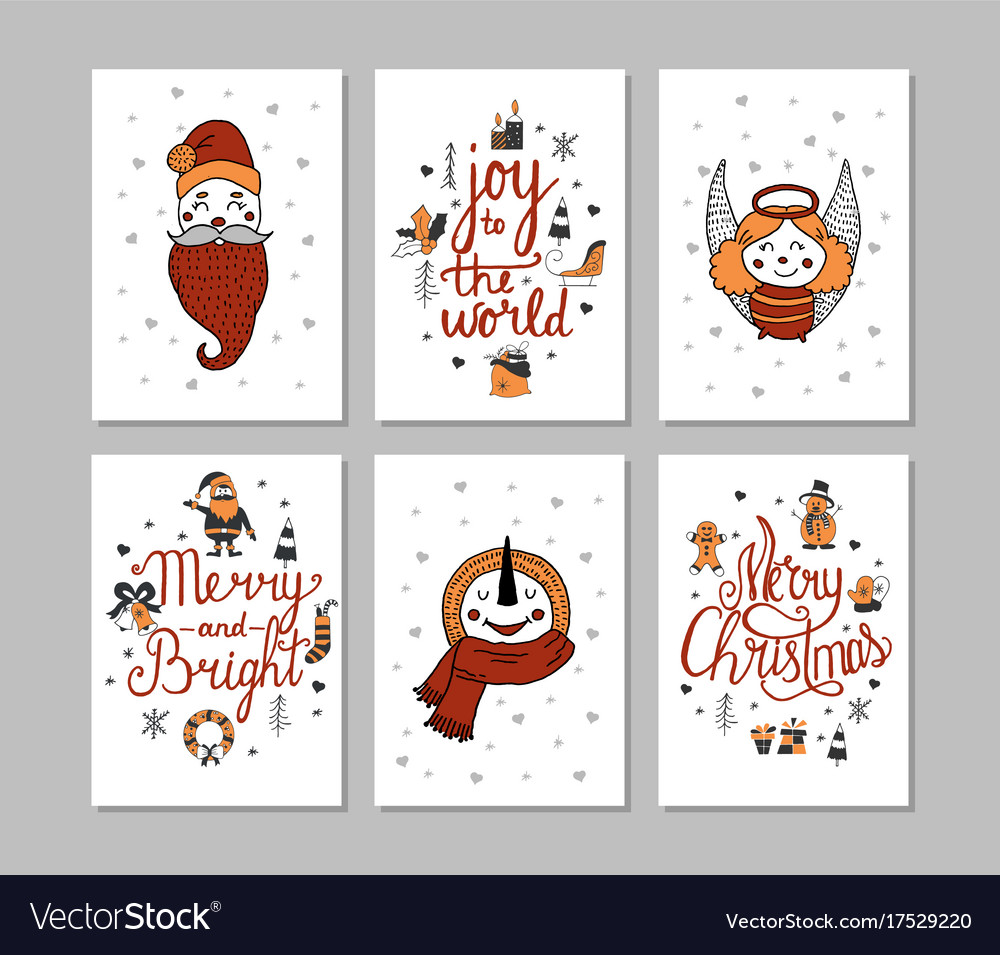 Cards set of cute cartoon christmas characters vector image
