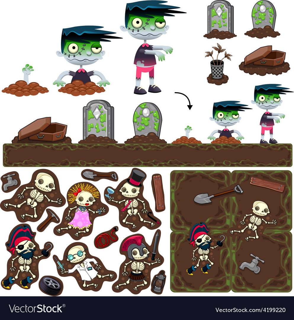 Set of game elements with zombie character vector image