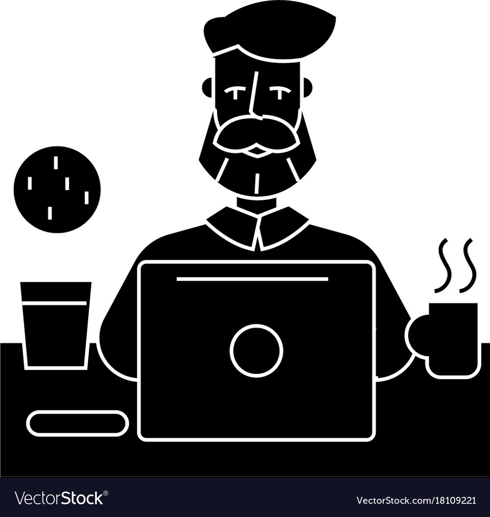 Man with beard working on table with notebook icon man with beard working on table with notebook icon vector image biocorpaavc Images