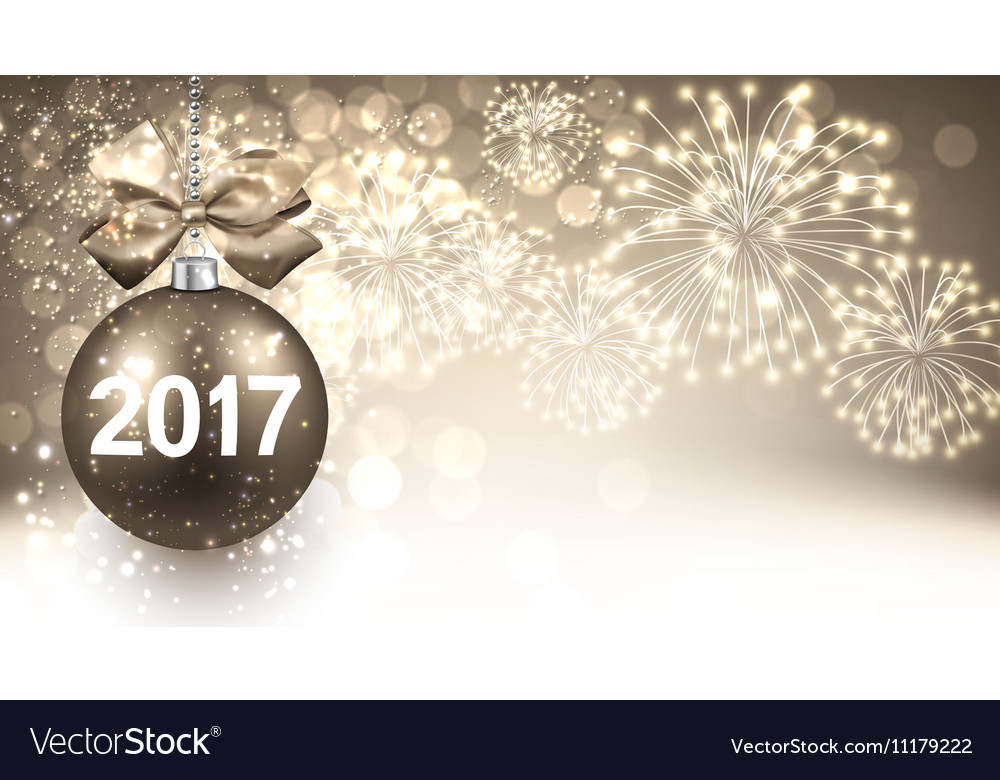 2017 New Year background with fireworks vector image