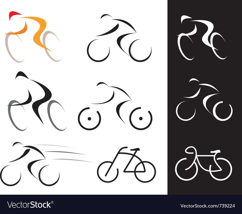 Racing cyclist bicyclist set vector image