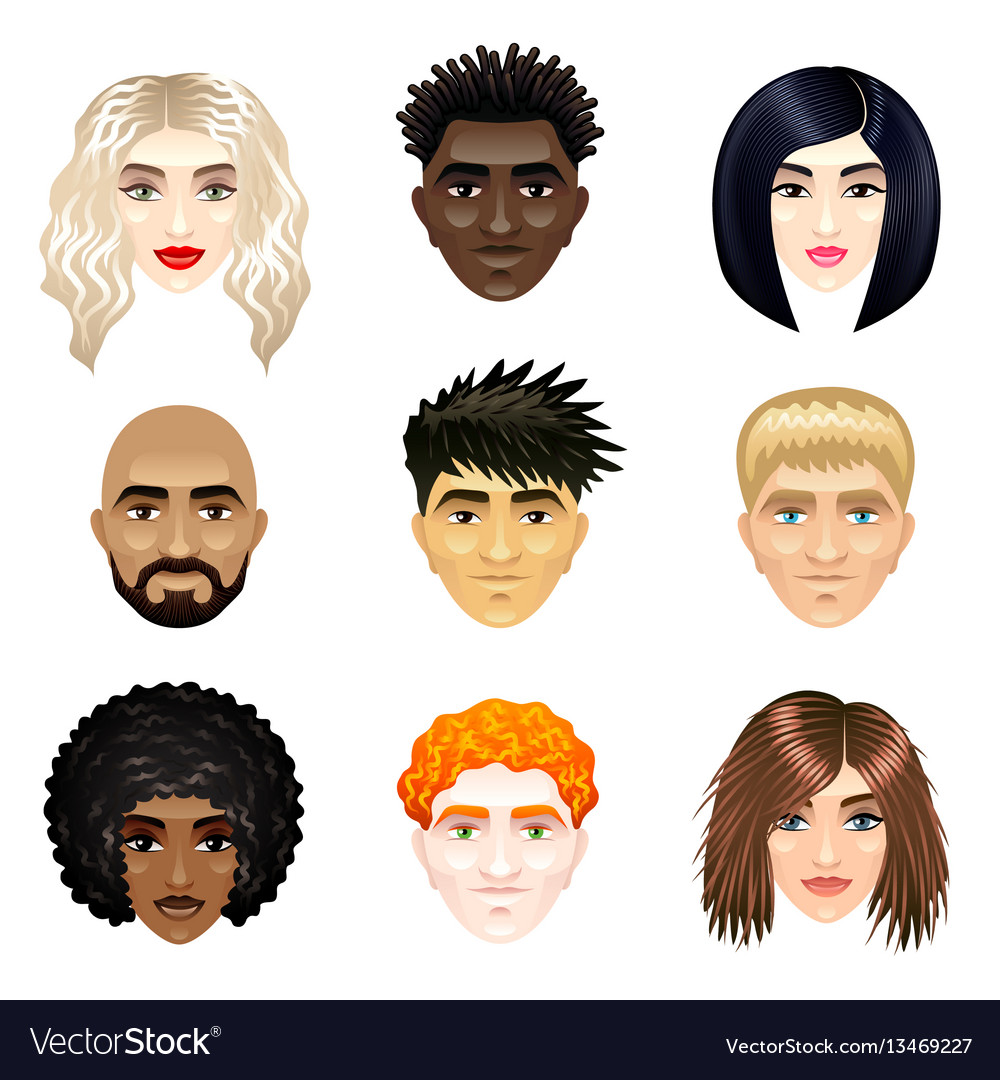Multicultural people faces set vector image