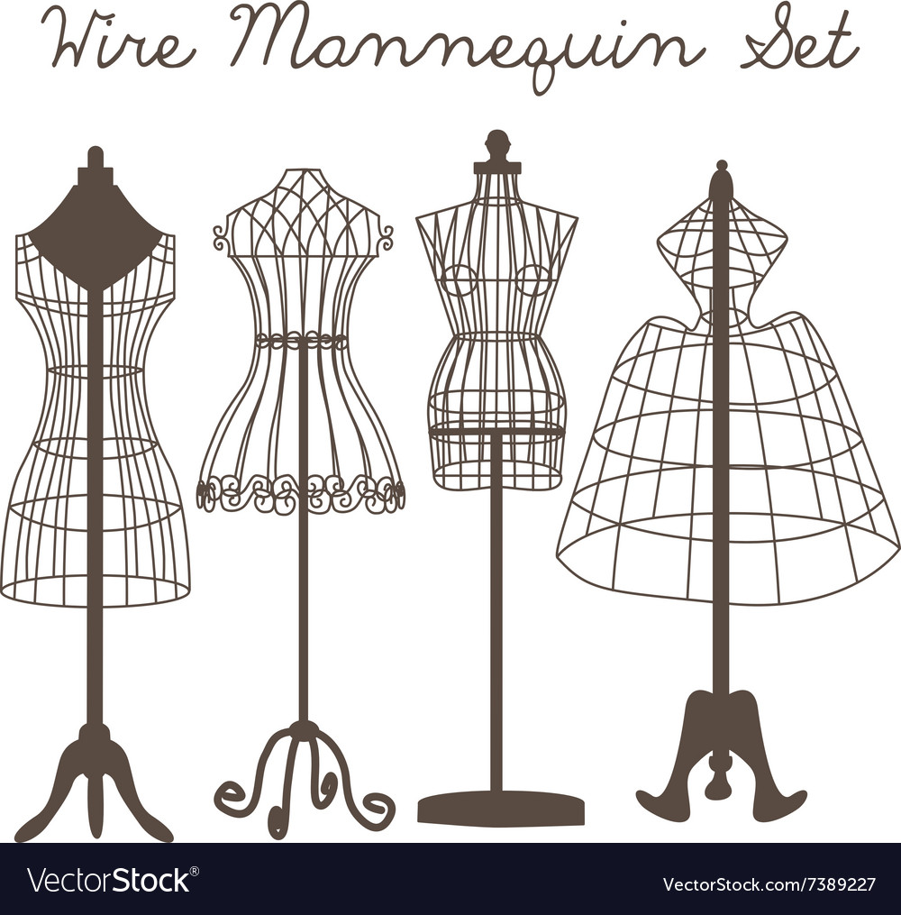 Wire Mannequin Set flat Royalty Free Vector Image