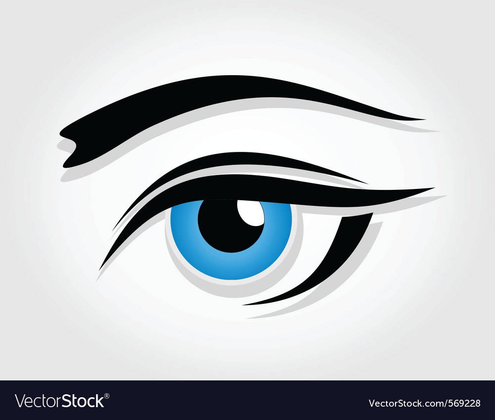Dark blue female eye vector image