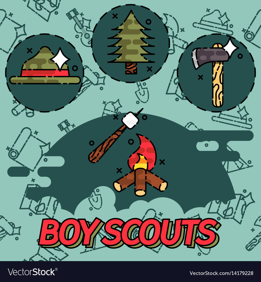 Boy scouts flat concept icons vector image
