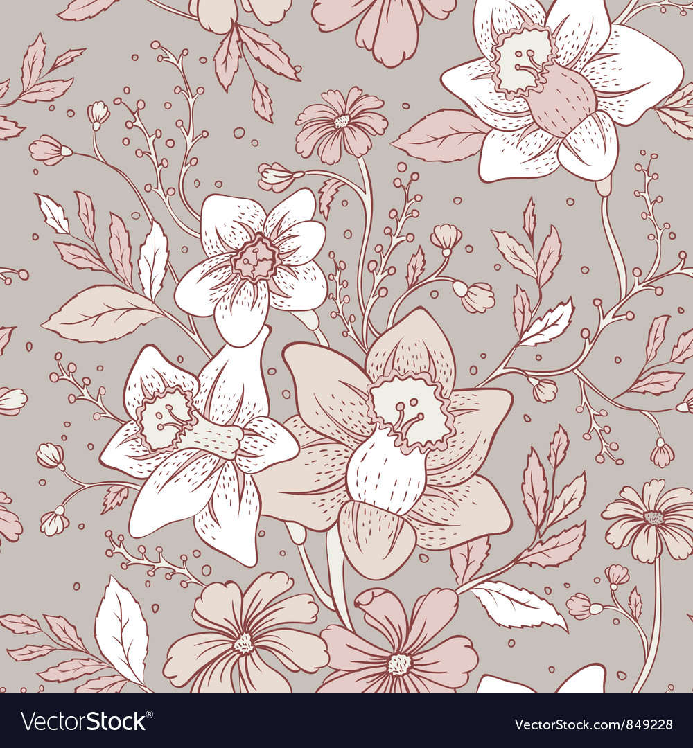 Flowers pattern seam vector image