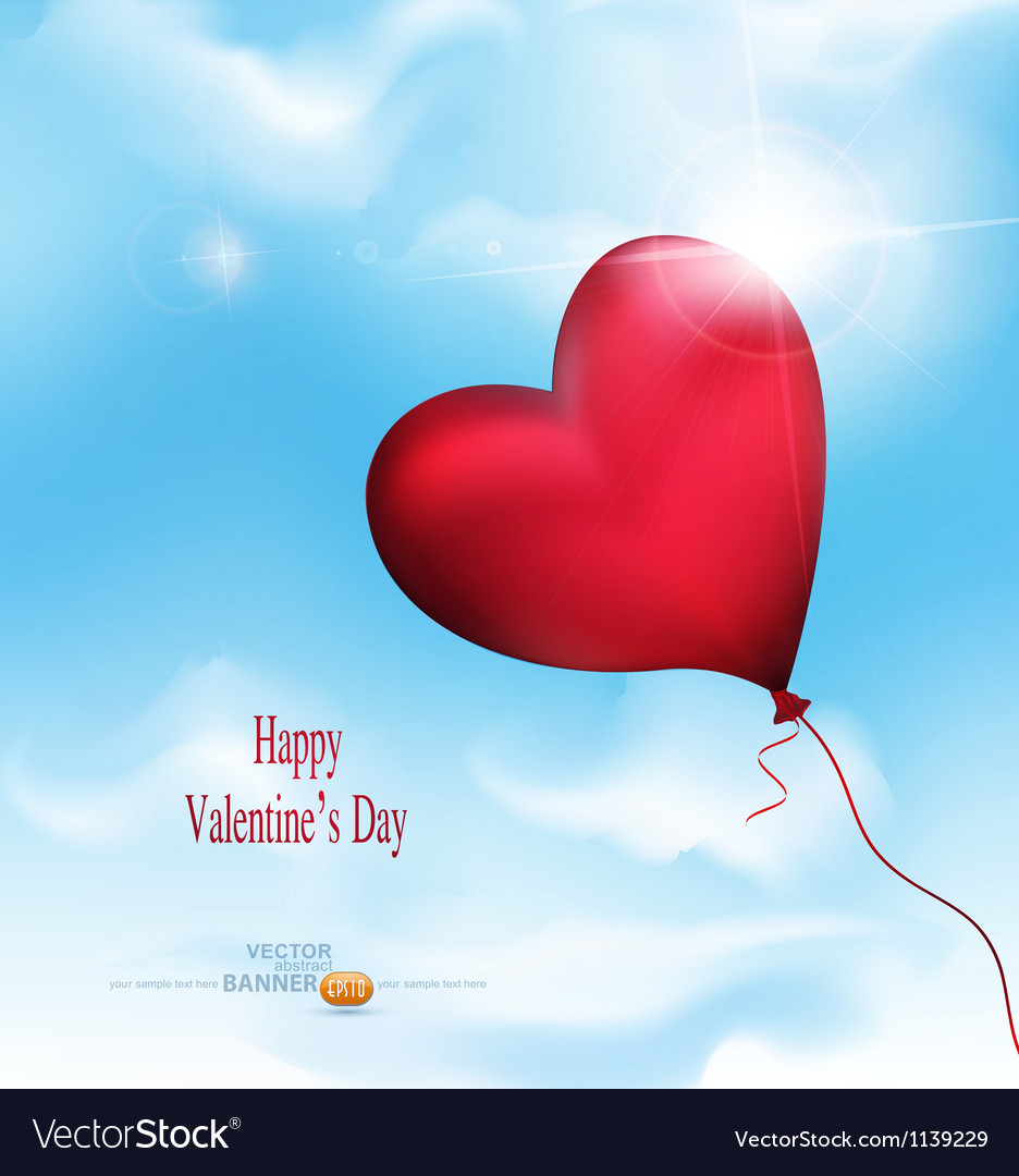 Balloon-hearts flying in the sky vector image