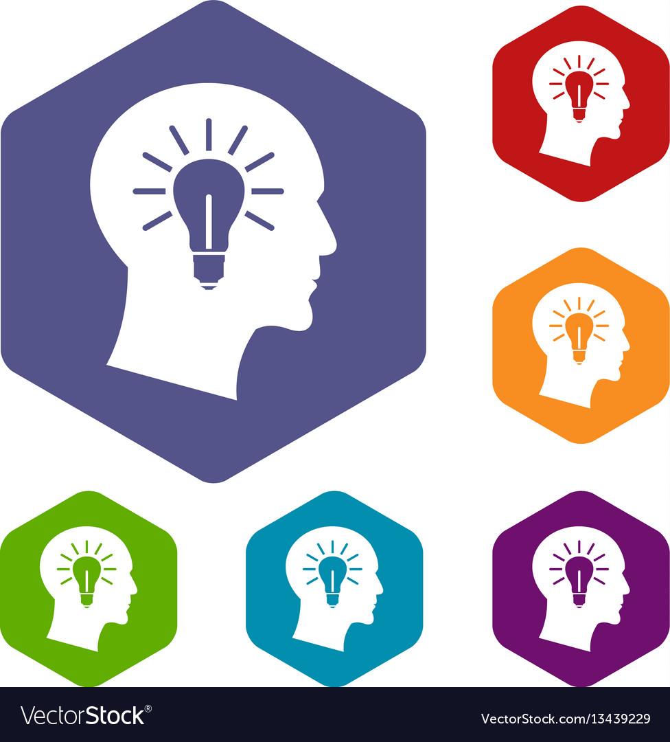 Light bulb inside head icons set vector image
