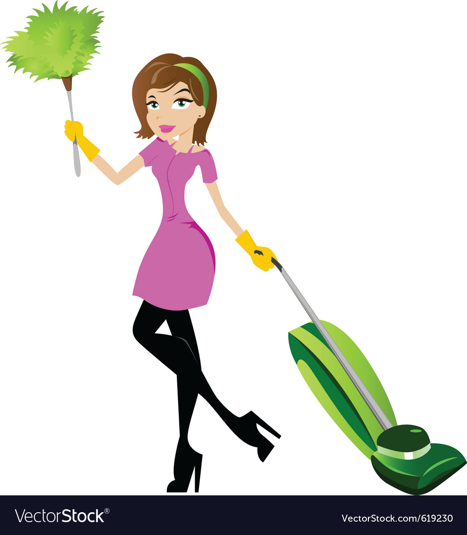 Cleaning woman vector image