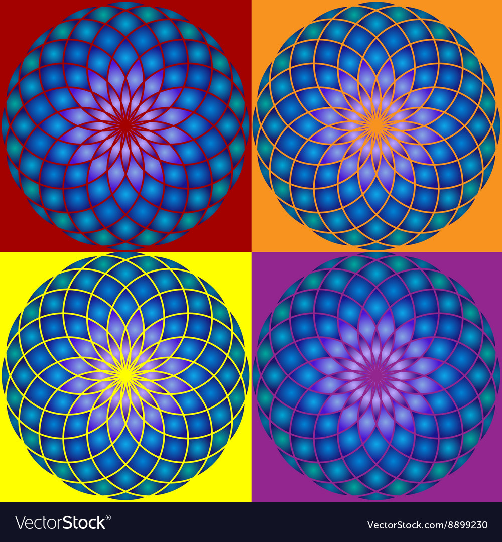 Collection of 4 Mandala Seamless pattern vector image