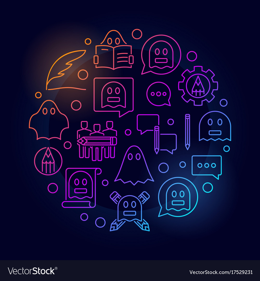 Colorful ghostwriting circular vector image