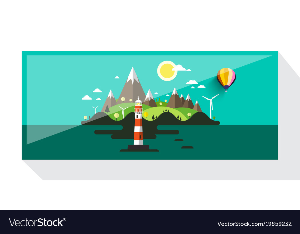 Abstract picture of island with hills and vector image
