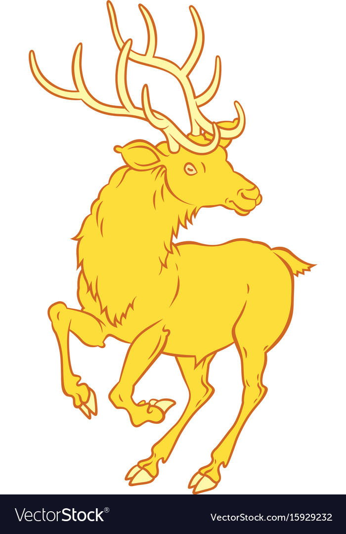 Golden Fabulous Deer A Symbol Of Good Luck Vector Image