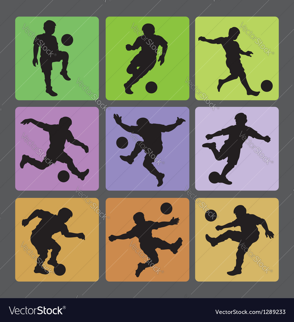 Soccer Boy Silhouettes 2 vector image