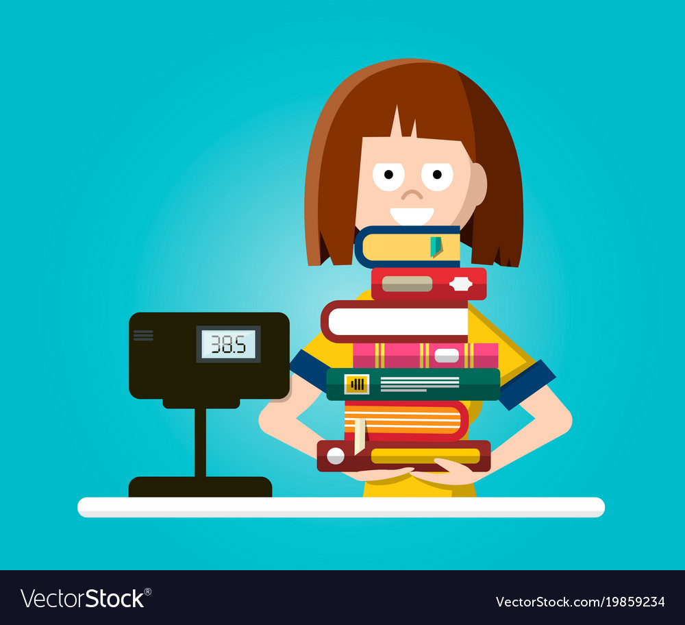 Bookstore or library flat design with woman with vector image