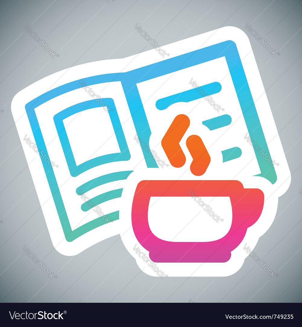 Cup and book label vector image