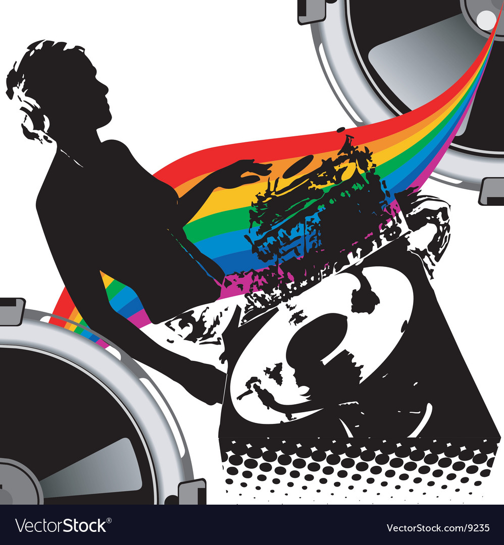 Girl dj and rainbow music vector image