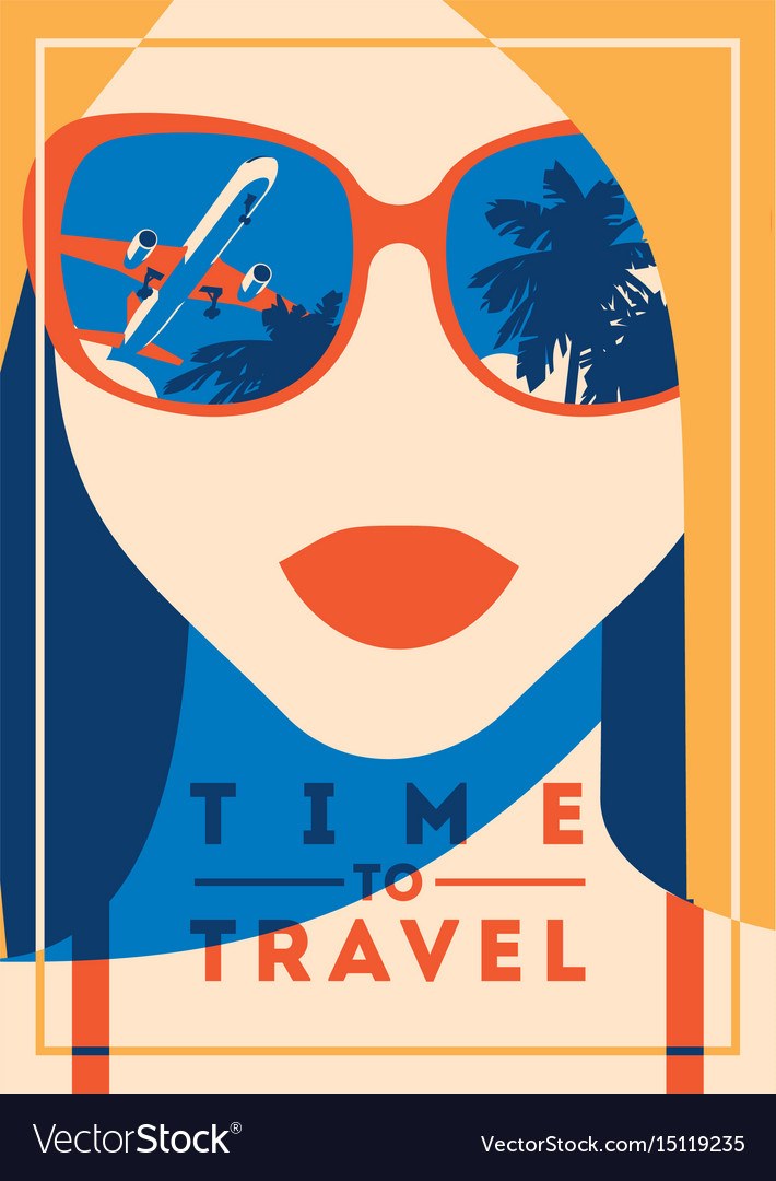 Time to travel and summer camp poster vector image