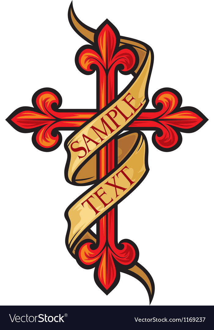 Christian cross with banner vector image