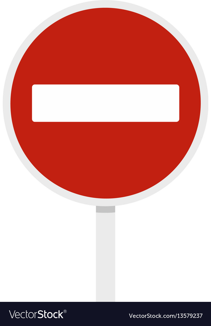 No entry traffic sign icon flat style vector image