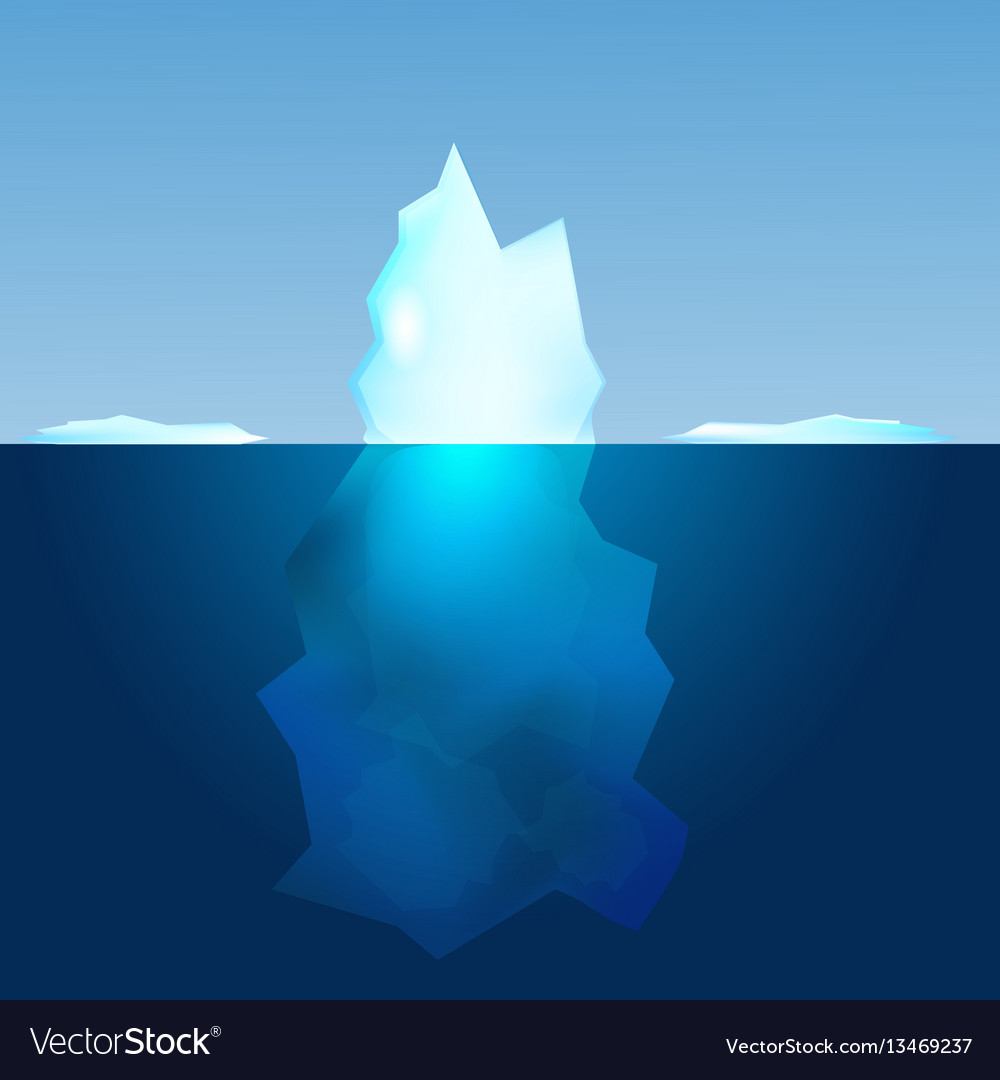 Underwater view of iceberg landscape background vector image