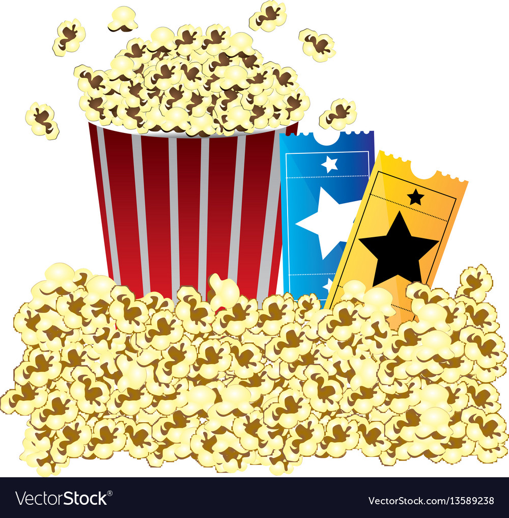 Color background with butter popcorn container and vector image