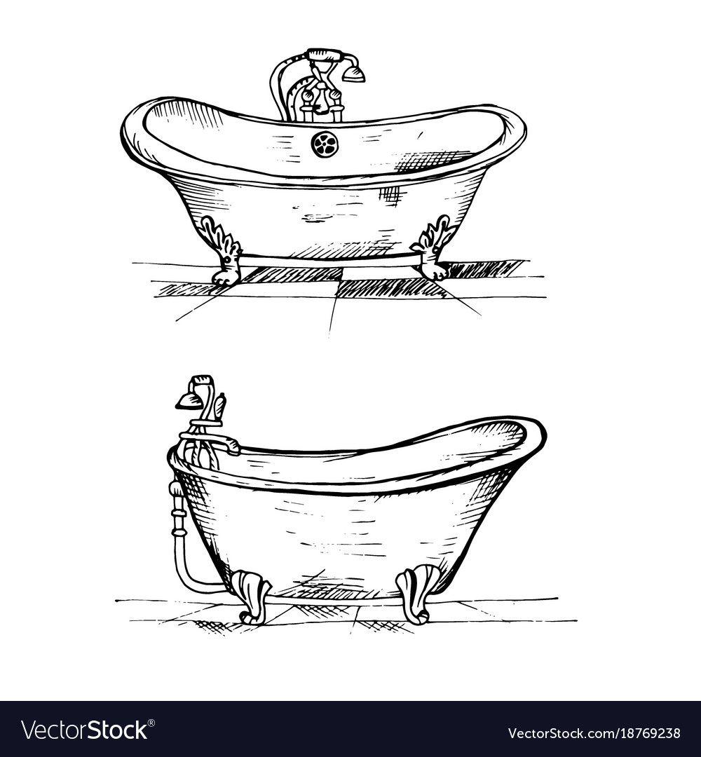 Doodle bath black pencil to draw in two vector image