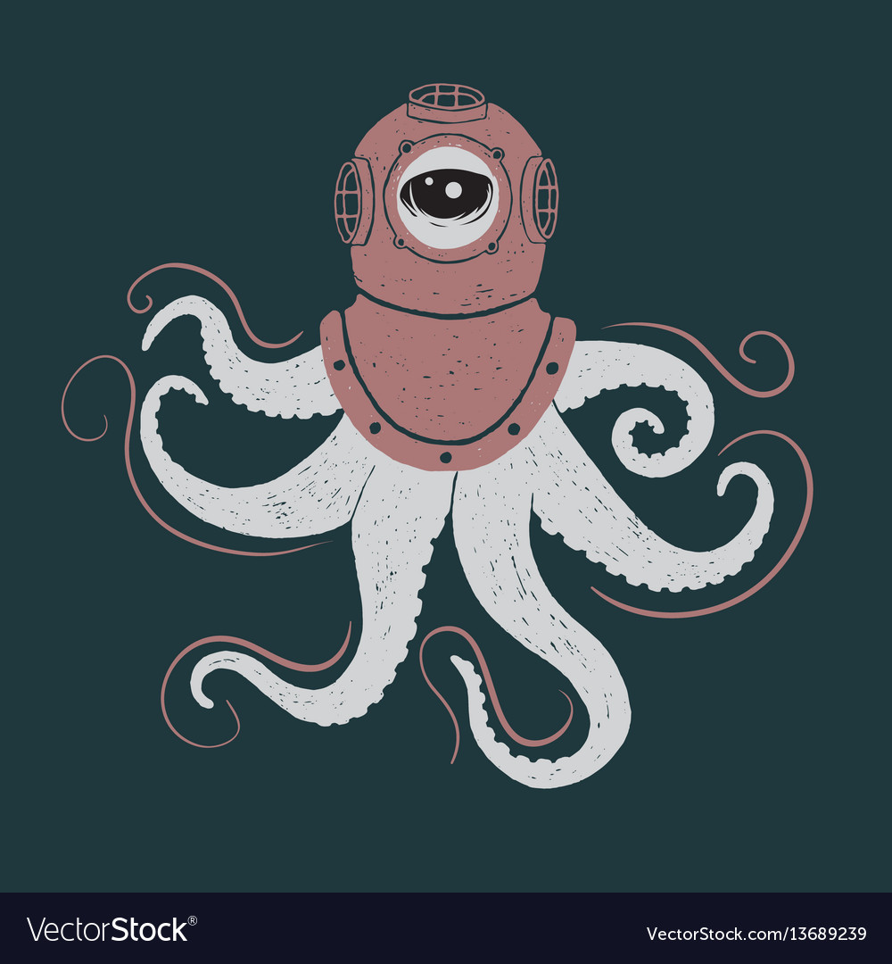 Abstract octopus in helmet vector image