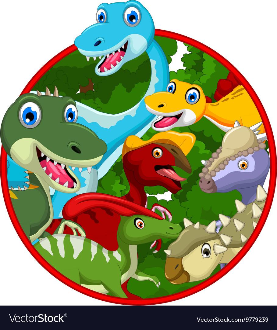 Dinosaur cartoon collection in frame vector image