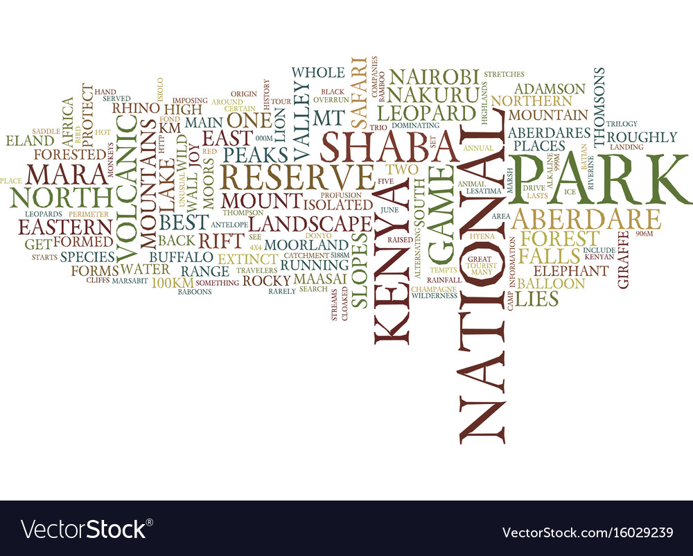 Great tour to kenya text background word cloud vector image