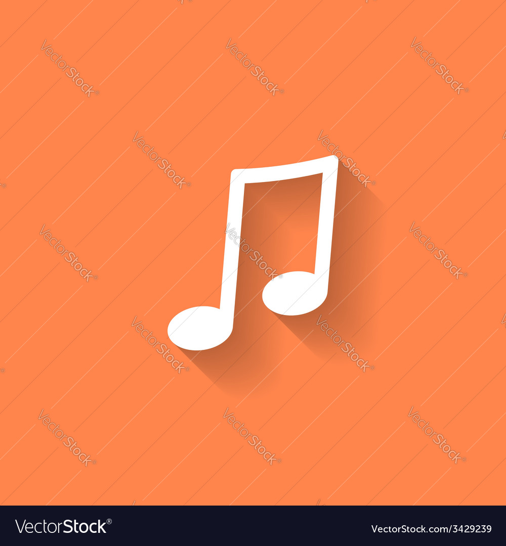 Musical note icon with shadow vector image