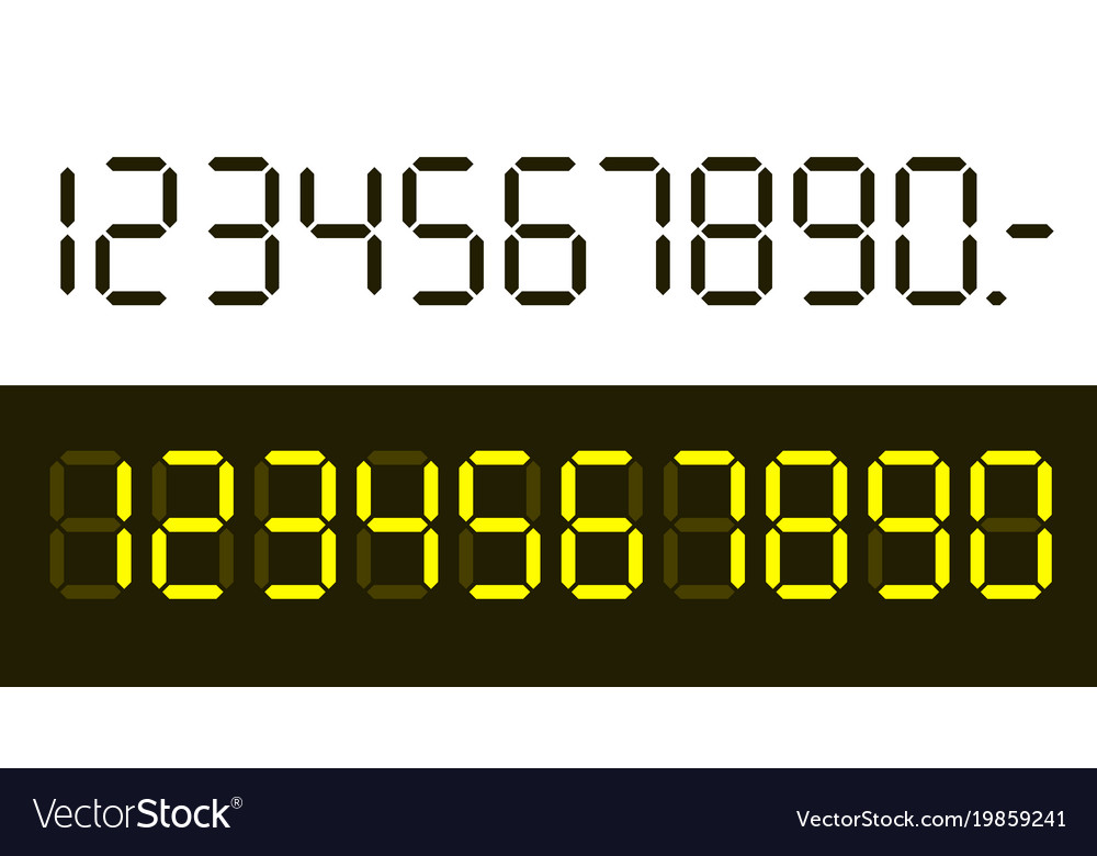 Flat design digital numbers set isolated on white vector image