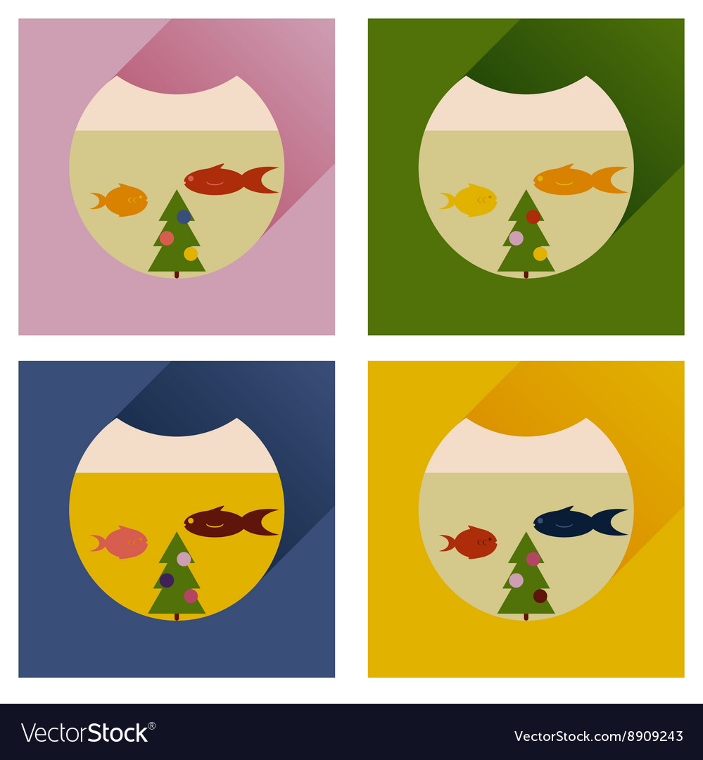 Set of flat icons with long shadow Christmas tree
