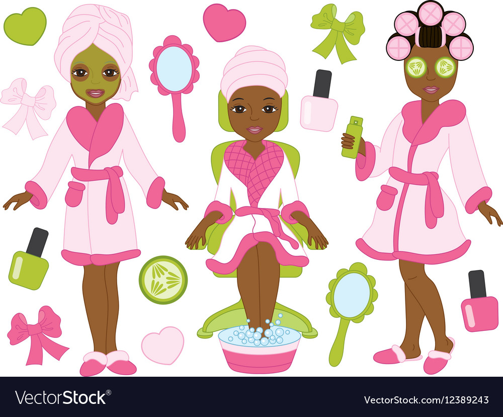 African American Spa Girls Set vector image