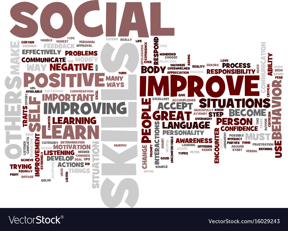 Great ways to improve your social skills text vector image