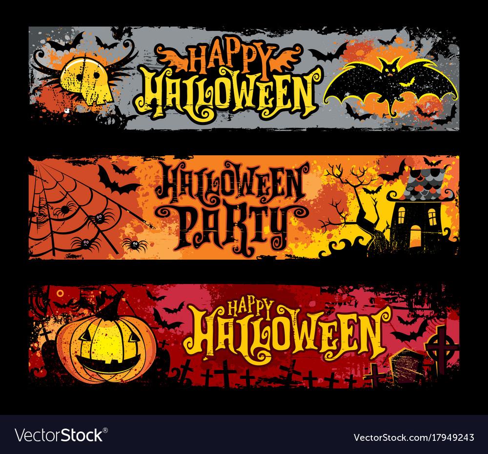 Halloween set of horizontal grunge banners vector image
