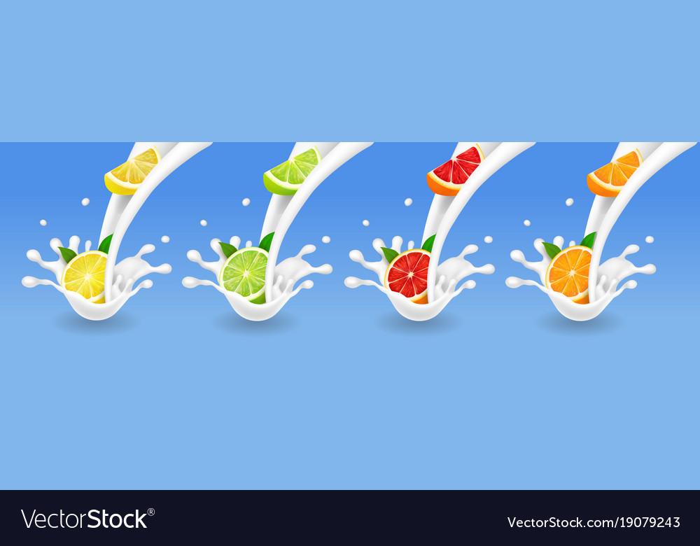 Lime grapefruit lemon orange in milk flow set vector image