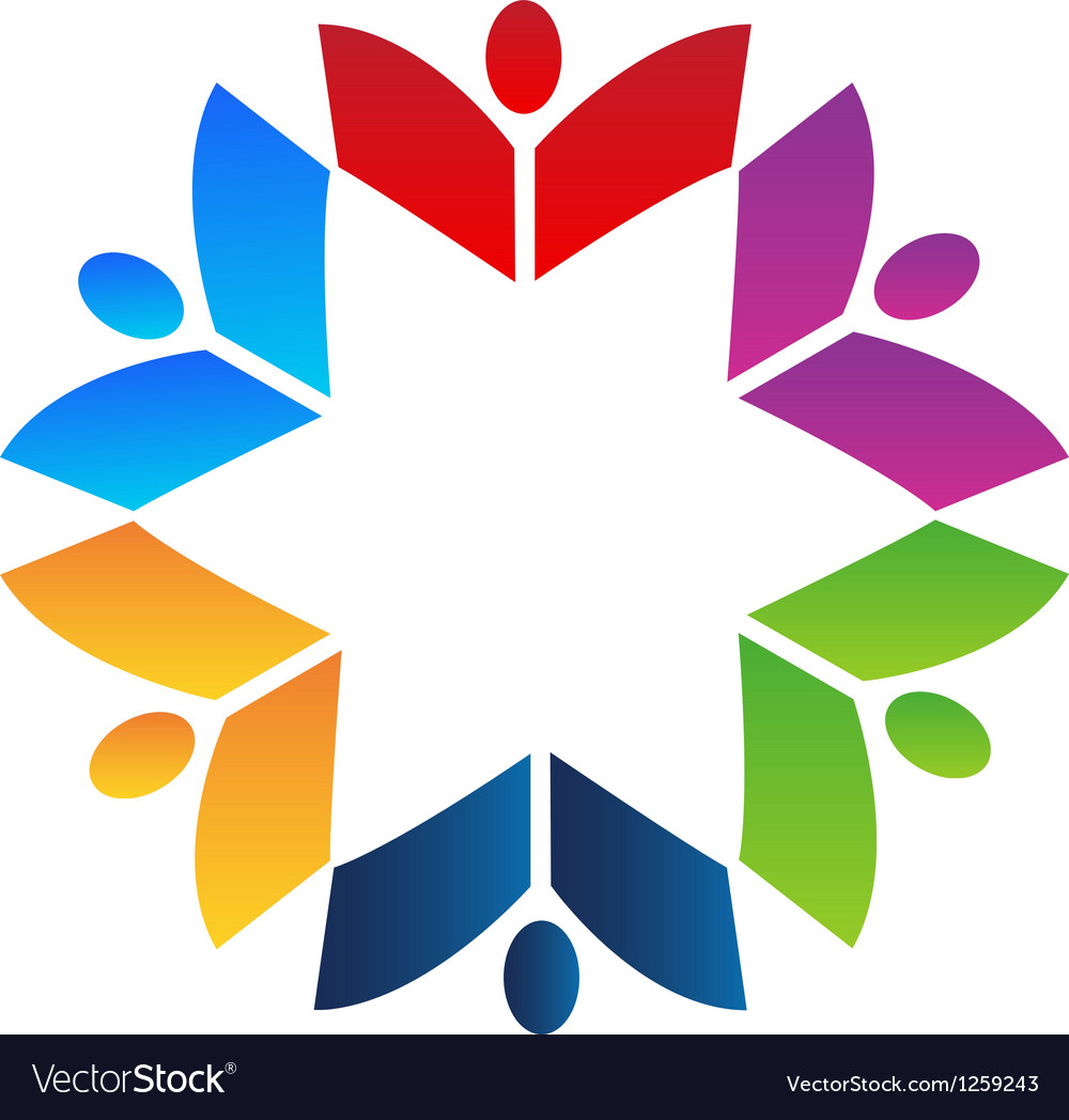 Teamwork books colorful logo vector image