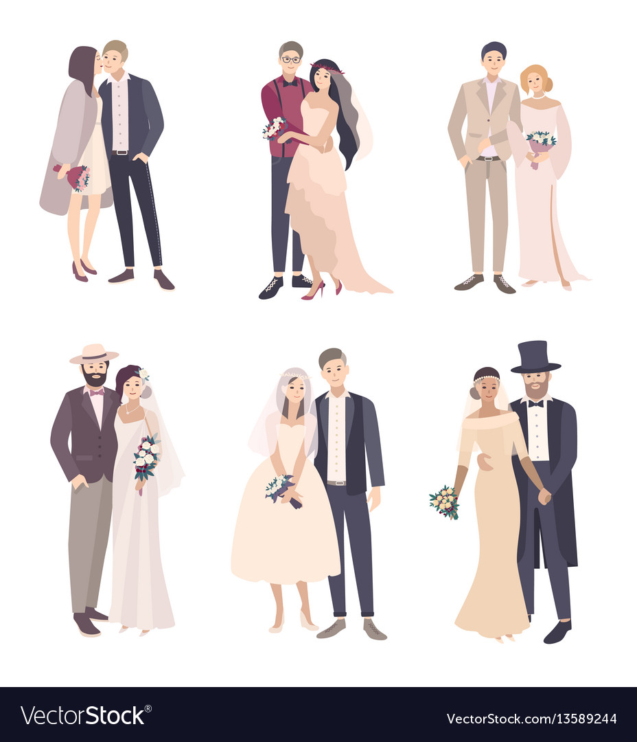 Beautiful and fashionable wedding couple bride and vector image