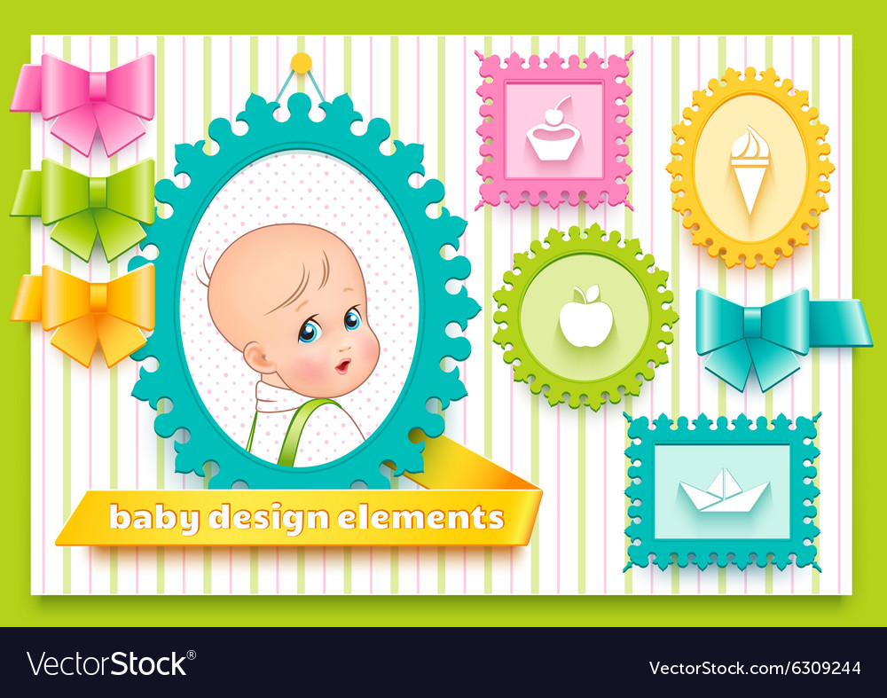 Collection for decoration child theme vector image