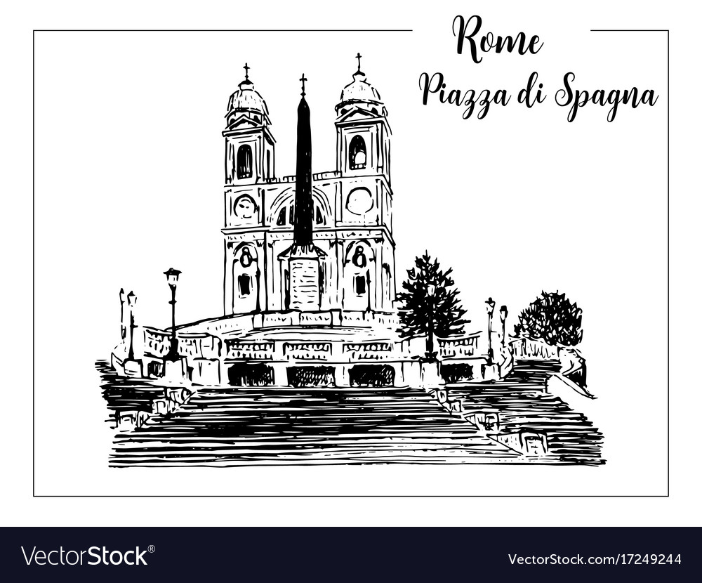 Sketch of the spanish steps in rome vector image
