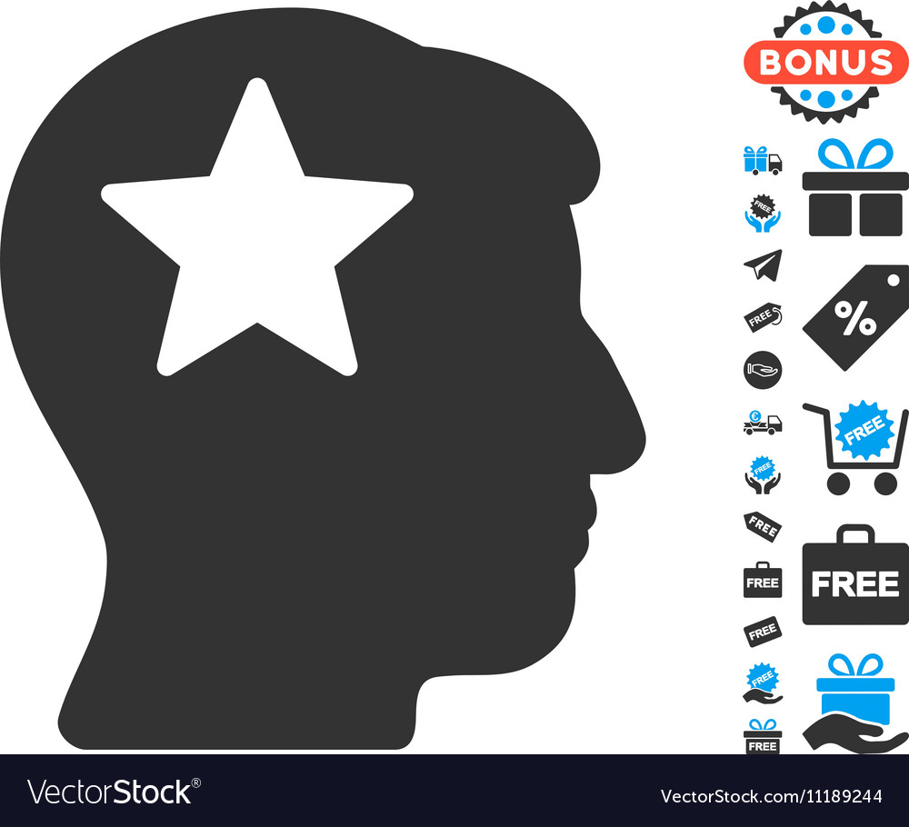 Star Head Icon With Free Bonus vector image