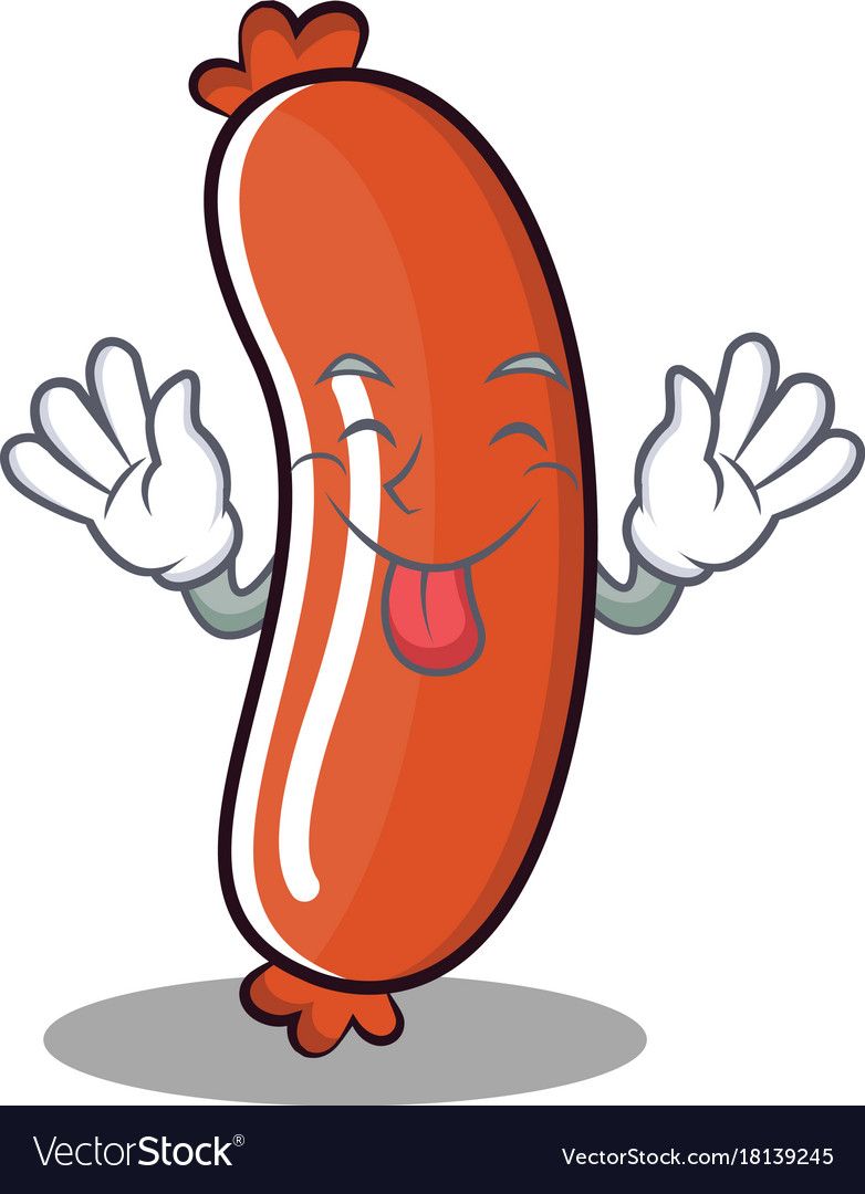 Tongue out sausage character cartoon style vector image