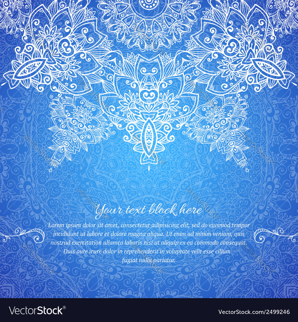 Blue ornate vintage wedding card background vector image