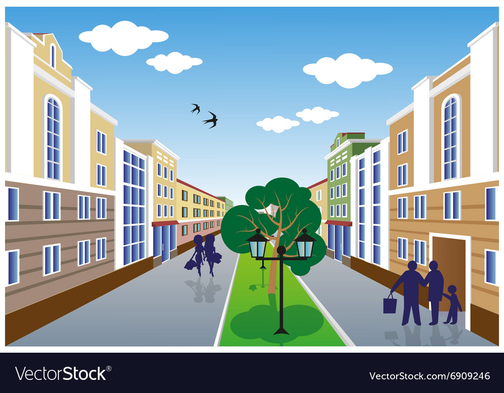 City street perspective summer vector image